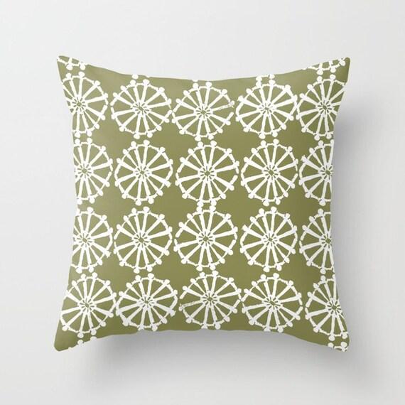 OUTDOOR Throw Pillow . Olive Green Outdoor Pillow . Olive patio cushion . Modern Geometric Pillow Wheel . 16 18 20 inch . Lumbar Pillow