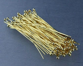 300 Gold Plated Ball headpins Head Pins - 2 inches (50mm), 24 Gauge 24G 1.8mm Half Hard Body