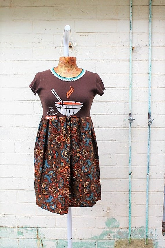 Small Pho noodle Dress/Pop art Pho dress/Vietnamese soup babydoll dress/Upcycled clothing/Hippie Music Festival Dress/brown upcycled dress