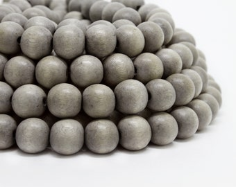 10mm Light Gray Round Wood Beads Dyed and Waxed 15 inch strand
