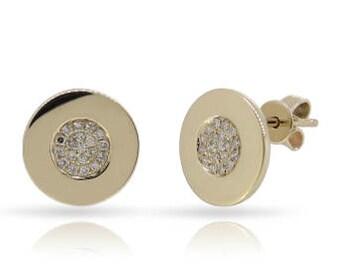 Round Tiny Diamond Stud Earrings 14k Gold - 0.112 Ct.