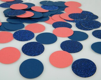 Navy and Coral Wedding Confetti Decoration, Navy Glitter and Coral Table Scatter, Nautucal Baby Shower Birthday Party Bridal Decoration