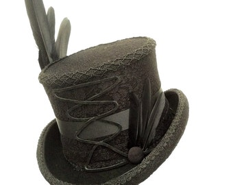 Gothic Raven black lace top hat