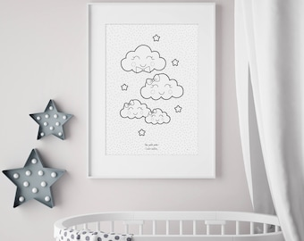 Family of clouds - poster - child and baby - three little boys room Decoration