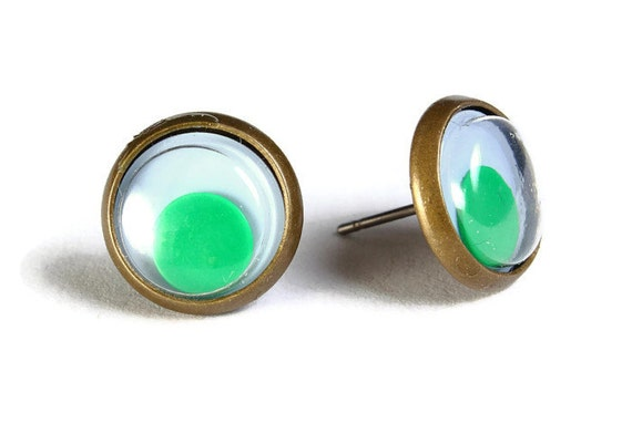 Sale Clearance 20% OFF - Green google eyes hypoallergenic stud earrings (499)