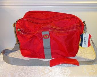 Vintage American Tourister Bag Red Luggage Weekender Carry On Bag Travel Bag Soft Shell