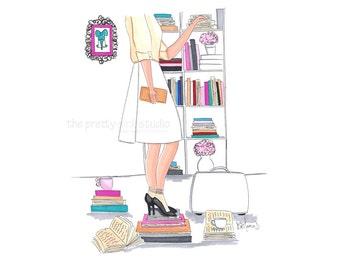 Fashion illustration, Fashion books art, Librarian wall art, Library art, Prints for home library, Librarian print, Chic fashion sketch