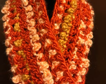 Orange, Peach and Tan Crochet Cowl Scarf