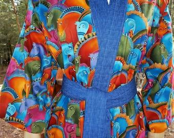 Haori Happi Coat Hip Length Kimono with pockets  - Enchanting Horses, Blue, Birthday, Mother's Day