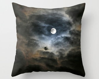 Moon Pillow Cover-Moon Throw Pillow-Full Moon Pillow-Black-Tan-Navy-White-Night Sky Pillow Cover-14x14-16x16-18x18-14x20-20x20-26x26