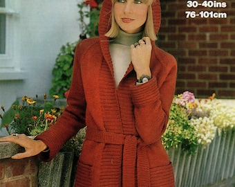 "Marriner 1689 Vintage Ladies UK Knitting Pattern, PDF, Instant Download, Cardigan, Hoodie, DK 30-40"", Double Knitting 1970s Classic"