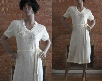 1970s cream boucle knit dress | 70's does 30's 40's WWII