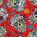 Skulls Day of the Dead Sugar Skull Red Cotton Fabric by David Textiles - By the Yard - bkack version available too
