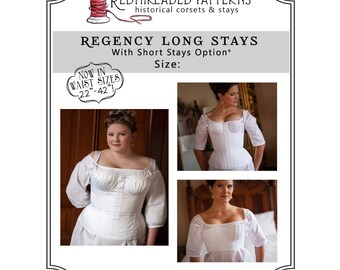 Printable Stays Pattern size XXL, Regency Corset Digital Pattern with Short Stays Option and Information Booklet