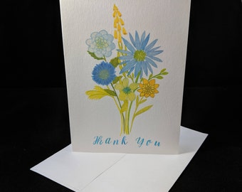 Bouquet Thank You - 5 Blank Greeting Card Set