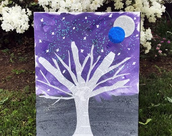 Acrylic Painting, Moon Tree