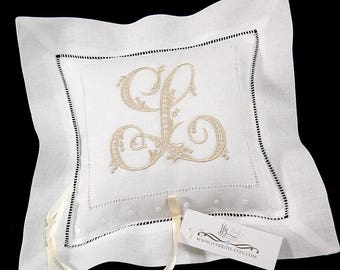 Personalized Ring Bearer Pillow monogrammed with single embroidered initial with names and date on the back, jfyBride, Style 6152