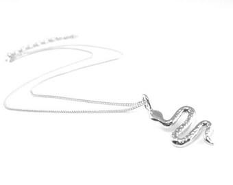 Snake or Python Sterling Silver Necklace Pendant
