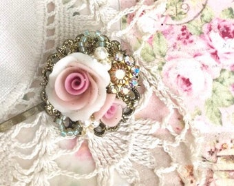 sweet antique brass bobby pin with Swarovski crystals and pink porcelain roses #1040-17