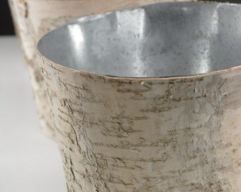 Birch Bark Vase Large Rustic Vase Wood Wrapped Planter Wedding Centerpiece Birch Flower Pot
