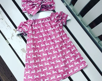 BABY Toddler GIRL dress 100% cotton pink white bunny bunnies rabbit fabric ages 0-3 months 3-6 months 6-12 months 12-18 months 18-24 months