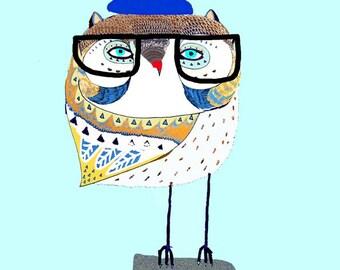 illustration art print, children's illustration. Owl Skater