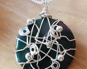 "Vintage Bloodstone Travel Pendant Necklace, ""OOAK"" Genuine Vintage Natural Bloodstone Sterling Silver, Fair Trade, Ethical, Eco Vegan"