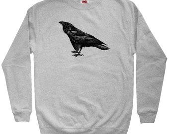 Raven Sweatshirt - Men S M L XL 2x 3x - Crewneck - Bird Sweatshirt, Poe Sweatshirt, Vintage Sweatshirt, Animal Art Sweatshirt, Corvus Corax