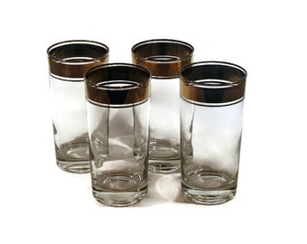 Vintage Barware Set of 4 Highball Glasses with Gold and Silver Rim Stripes in Dorothy Thorpe Style Set 3