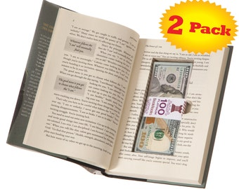 BookRooks Recycled Hollow Book Cash Box with Magnetic Closure (2 Pack) (Titles Vary)