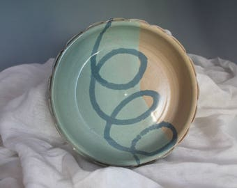 Brie Baker - green and yellow with swirl - baking dish - Chip and dip - pottery