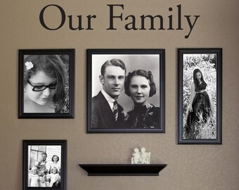 Our Family Wall Decal - Photo Wall Quote - Family Picture Wall Decal