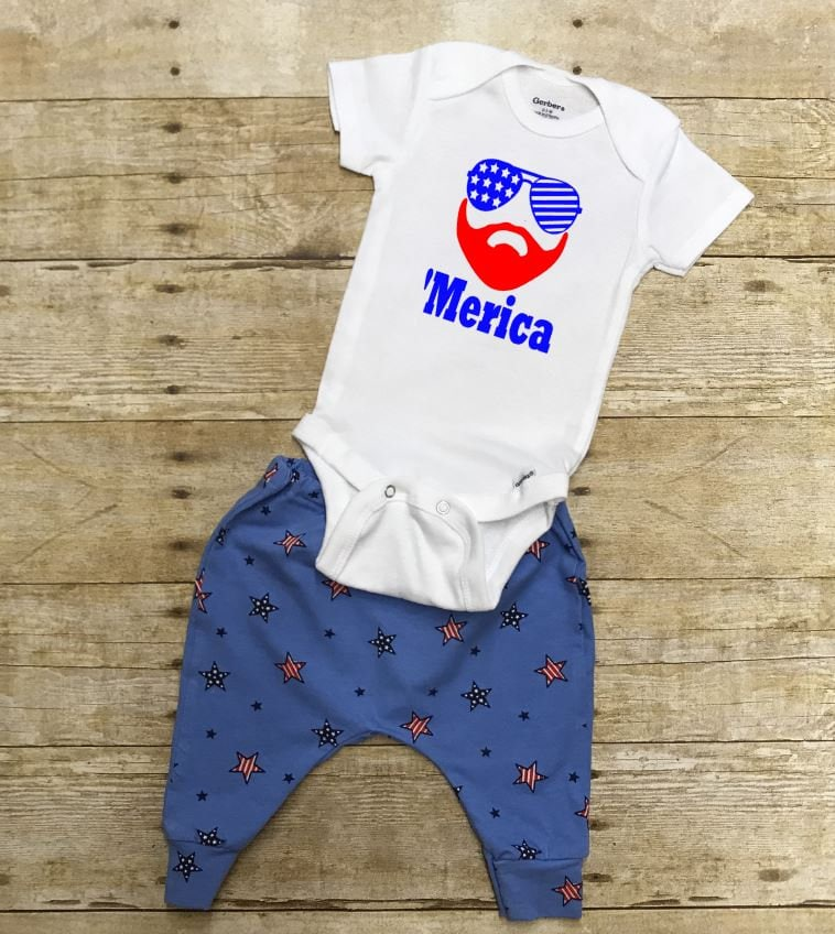 merica 4th of july outfit pants and onesie or t shirt