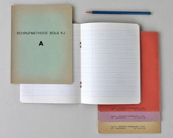 Set of 5 vintage school note books - Unused Dutch composition notebook Circa1950's - 5 coloured cover with lined pages. Stationery addict