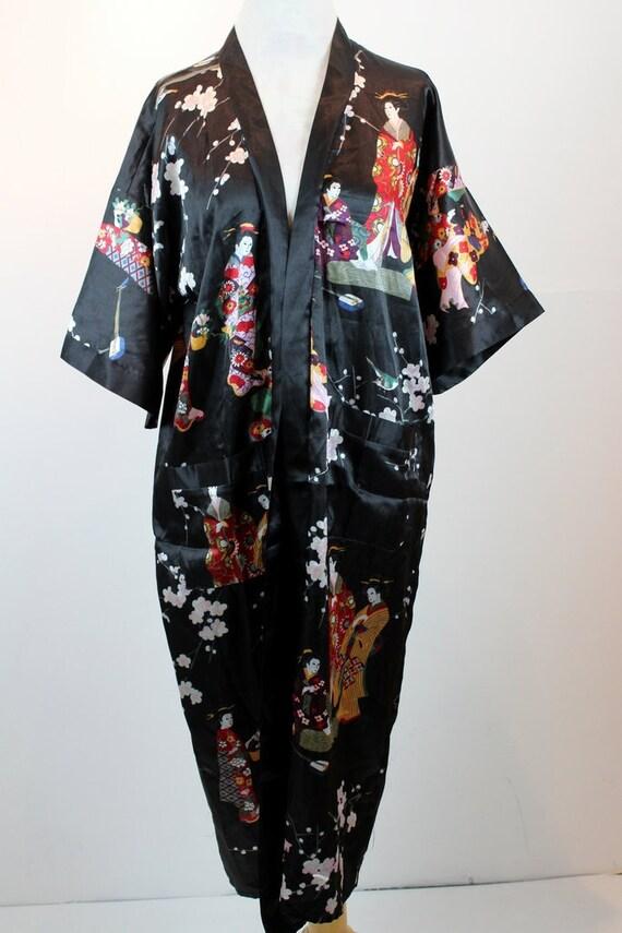 Vintage schwarze orientalischen Schlafrock Gewand Größe XL