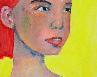 Bright Yellow Woman Portrait Painting Print. Wall Art Prints. Art Gift for Her Home. Apartment Decor.