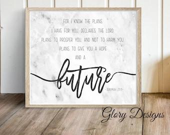 Printable, Jeremiah 29:11, I know the plans, Bible Verse, Bible printable, Graduation, Wedding,  Scripture printable, Gift for a man