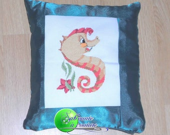 A seahorse cross stitch Embroidered Pillow