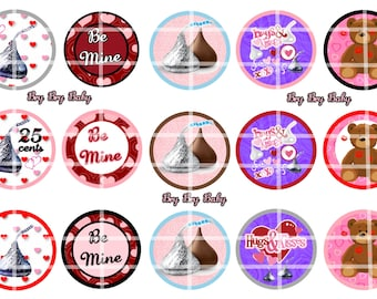 "Hershey Kiss Kisses 1"" Bottle Cap images Valentines BCI"