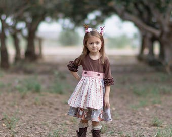 The Beatrice Knit/Woven Apron Dress PDF Sewing Pattern Size 12 month - 12 year Girls Toddler Tween