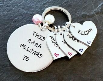This nana belongs to key ring, nana keyring, hand stamped, nana gift, Mother's Day gift, grandchildren gift, personalised, name keyring