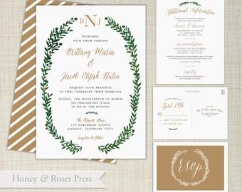 Green Wreath Wedding Invitation  . Watercolor  Invite  .  Rustic Christmas  .  Digital Wedding Invite  .  Printable Wedding Invitation