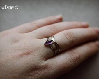 Nickel silver adjustable wire wrapped fantasy inspired ring Amethyst gemstone jewelry Silver metal flower Wedding gift mom sister grandma