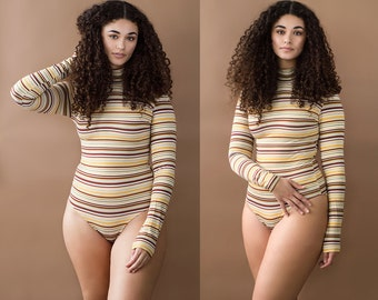 Sunny Side Up Striped Turtleneck Long Sleeve Bodysuit XS S M L XL XXL