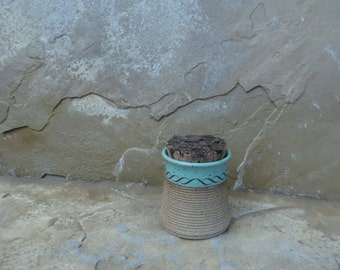 Teeny Wee Canister Jar - Handmade Stoneware Ceramic Pottery - Turquoise - 4 ounces