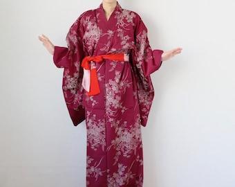 silk kimono, floral kimono, Japanese kimono, floral robe, maxi kimono /3220