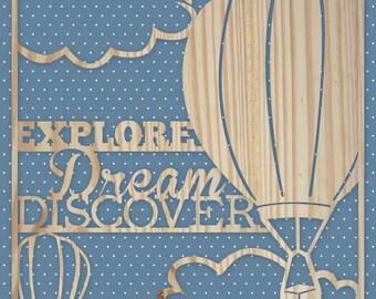 "Hot Air Balloon print with Mark Twain quote, 3D effect, 8""x10"""