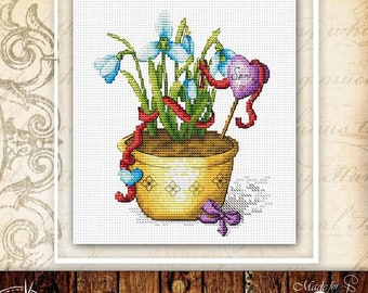 Snowdrop flower cross stitch pattern floral cross stitch spring blossom cross stitch bloom flower pot cross stitch chart mothers day gift