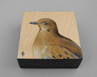 Mourning dove painting - wood art block original - dove of peace - peace dove painting - wedding dove - wedding gift for the bride and groom