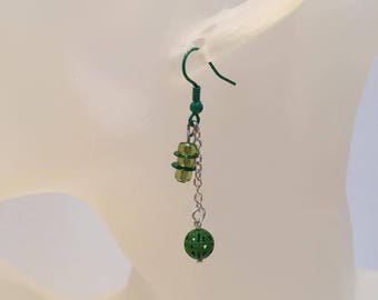 Green beads and chain earrings